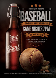 Baseball Sports Bar Promo Flyer Template