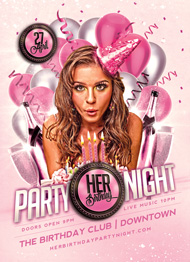 Design Cloud: Her Birthday Party Flyer Template