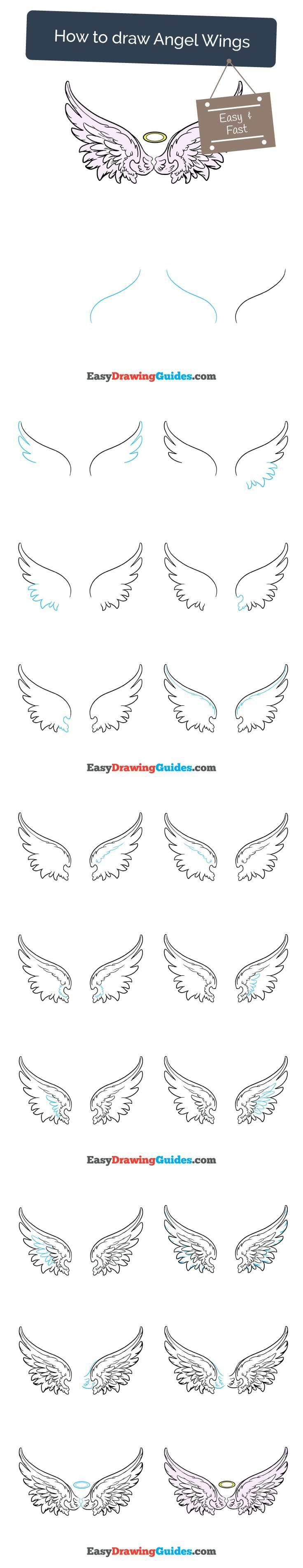 Draw Pattern - Learn How to Draw Angel Wings: Easy Step-by ...