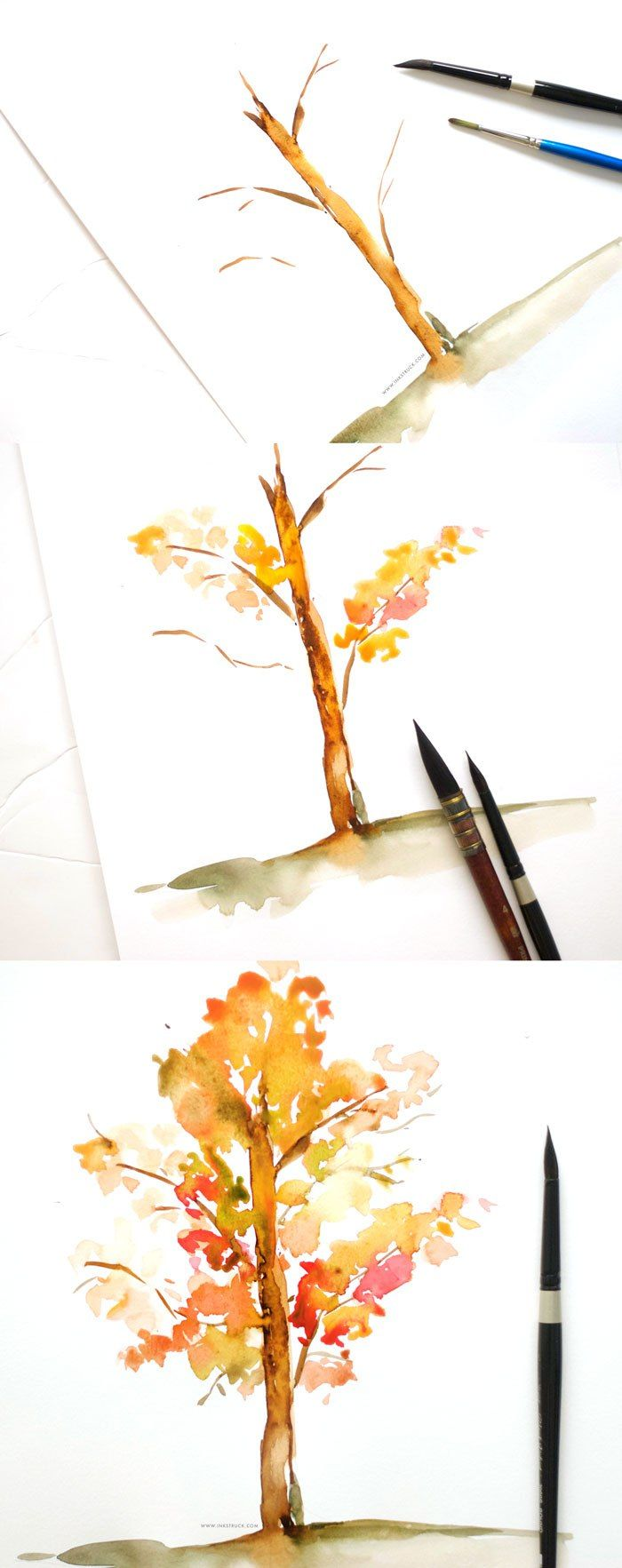 Draw pattern learn to paint a watercolor fall tree in for Learning to paint and draw